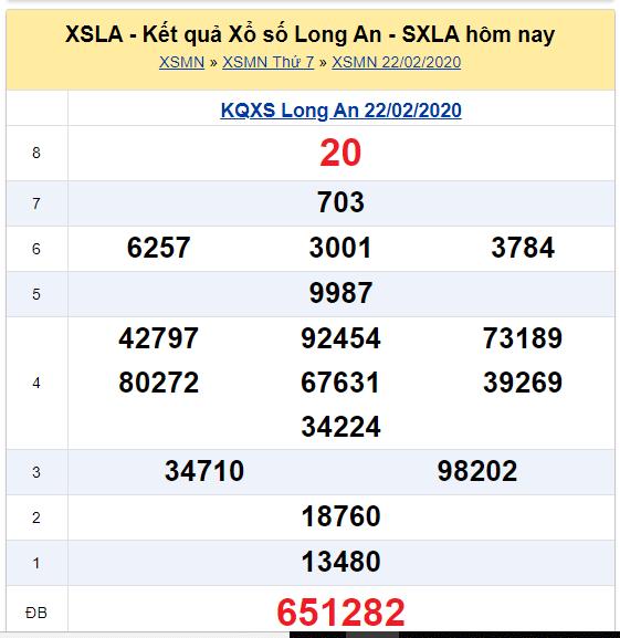 Soi cầu XSMN đài Long An 01-03-2020