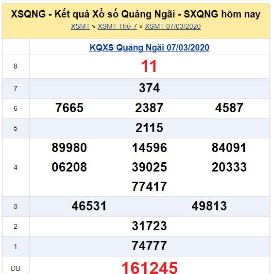 Soi cầu XSMT đài Quảng Ngãi 14-03-2020