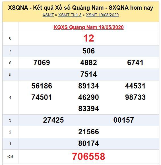 Soi cầu XSMT đài Quảng Nam 26-05-2020